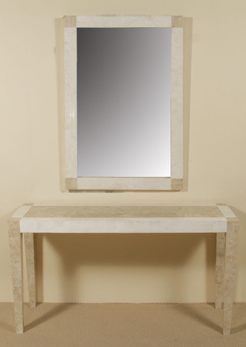 14-1459 - Cube Mirror Frame, Beige Fossil Stone with White Ivory Stone-with mirror