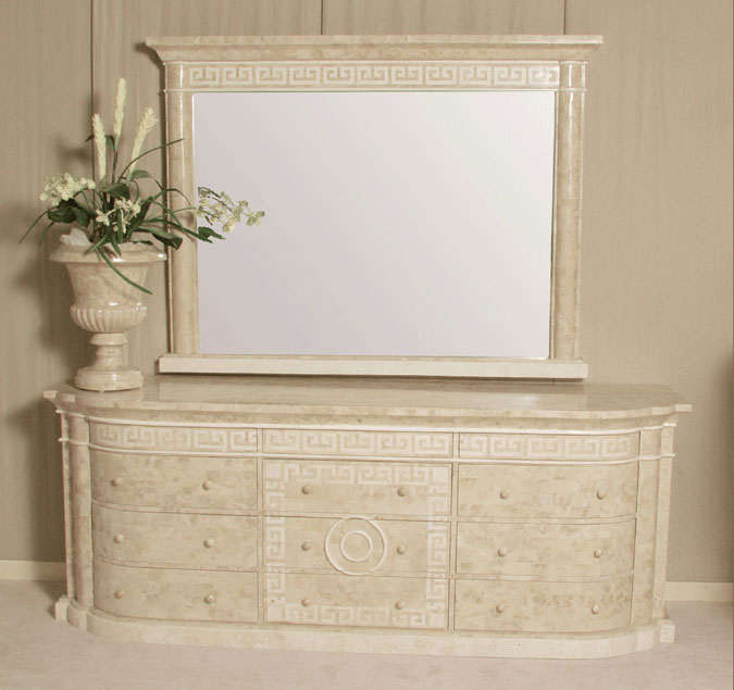 14-2854 - Aristotle Mirror Frame with Greek Key Design, Beige Fossil Stone with White Ivory Stone