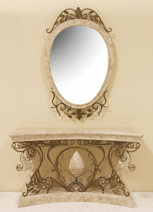 16-1421 - Trumpet Vine Oval Mirror Frame, Cantor Stone (mirror included)