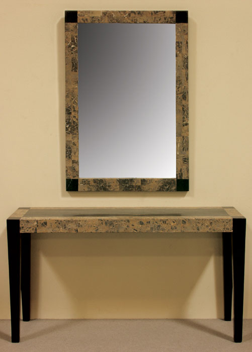 17-1459 - Cube Mirror Frame, Black Stone with Snakeskin Stone-with mirror