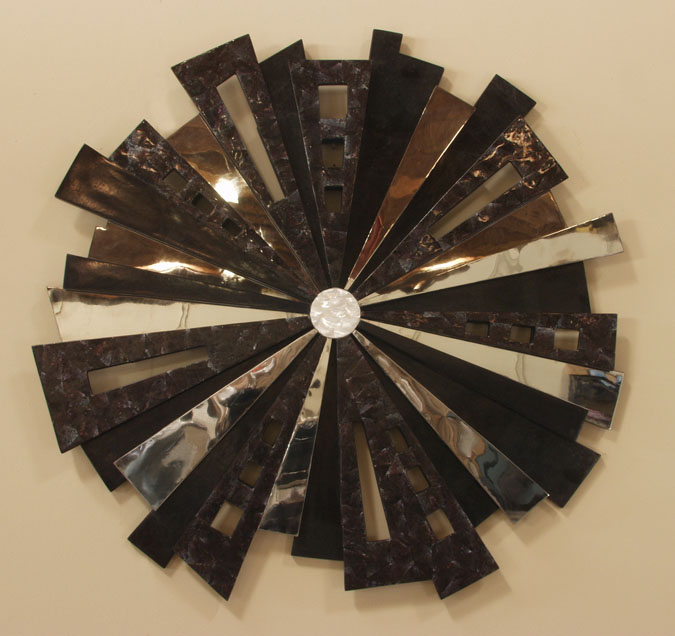 214-3680 - Spotlight Wall Art, Black Stone/Cracked Violet Oyster Shell/Stainless/Trocca Shell Finish