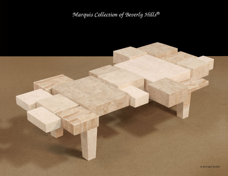 234-3459 - Block Cocktail Table, White Ivory Stone/Cantor Stone/Beige Fossil Stone/Crystal Woodstone