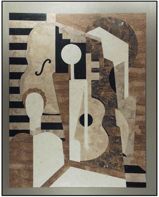 271-3300 - Musicians Mural Wall Art Decor, Embossed Finish, Beige Fossil/White Ivory/Wood Stone/Cantor Stone (formerly #203-3300)