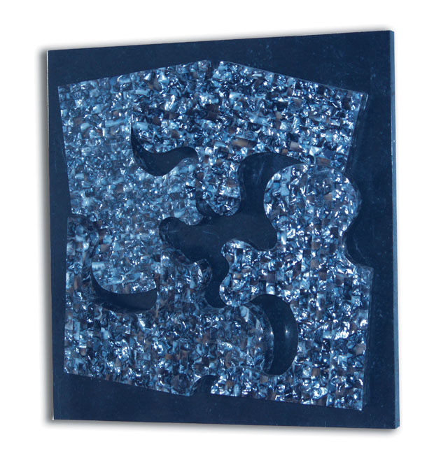 282-3400 - Puzzle Wall Art Decor, Blue Agate Shell on Black Stone background (formerly #19-3400)