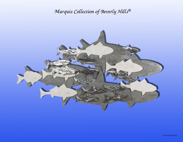 315-3455 - School of Fish Wall Art Décor, Greystone/Grey Agate/Brushed Stainless