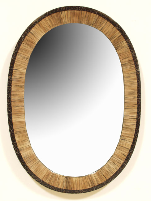623-0555 - Valencia Oval Mirror Frame, Plantane Strips with Fern Tassel Finish