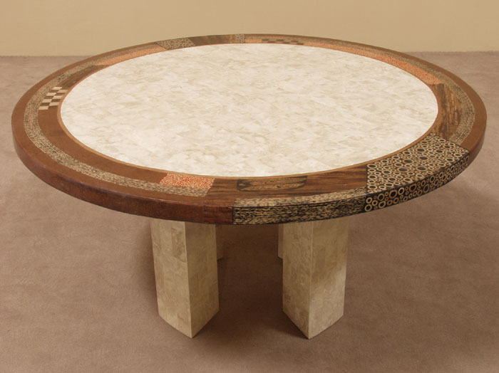 641-5708 - Collage Round Dining Table, Beige Fossil Stone with Natural Materials Finish