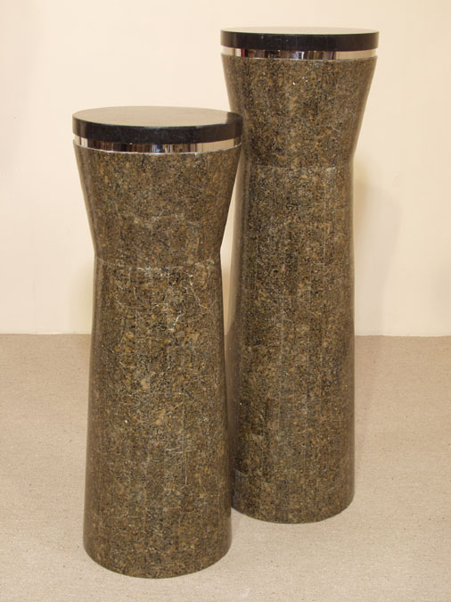 7-361-0-45-42 - 42 In. High 'Bora Bora' Pedestal, Round, Gold Stone/Black Stone/Stainless Finish