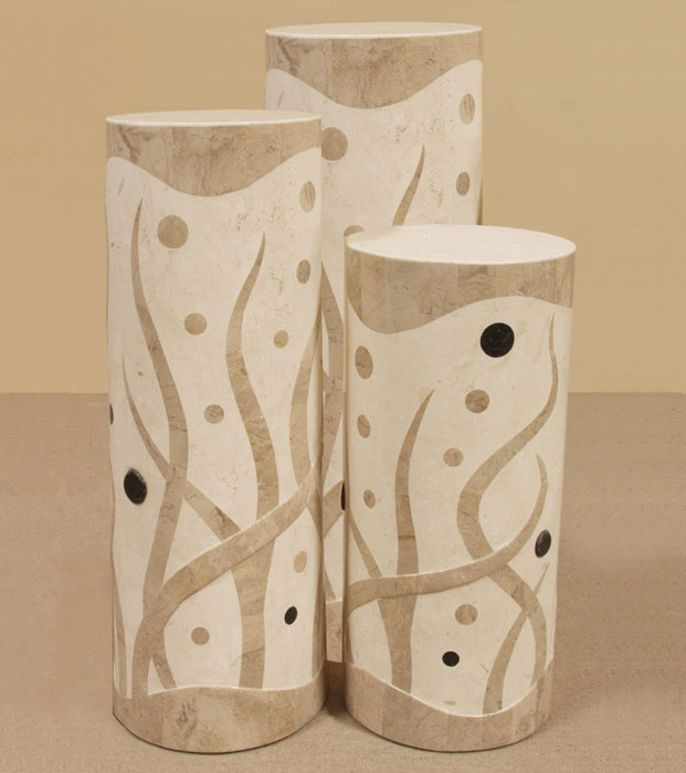 7-76-0-4810-36 - 36 In. High Round Under the Sea Pedestal, Cantor Stone/Black Stone/White Ivory Stone