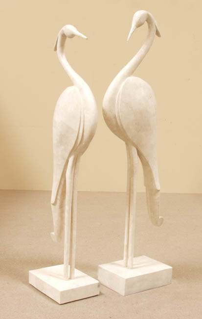 711-9509A - Egret Sculpture Floor Model, Short, White Ivory Stone with Trocca Shell (Sold in Set of 2) - 2 of 2