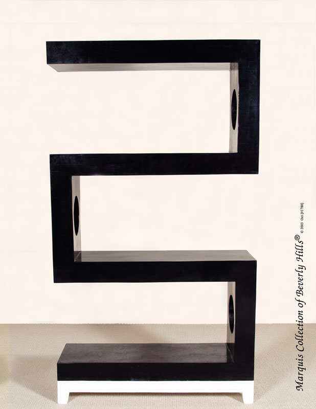 80A-8005 - S-Etagere, Black Stone with White Ivory Stone Base