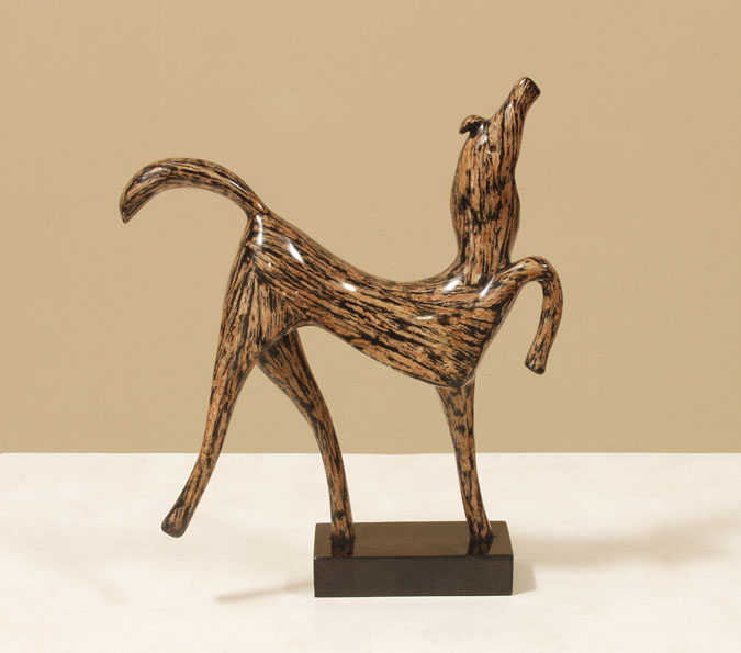 933-9535 - Prancing Horse Sculpture, Cotton Husk with Black Stone Finish