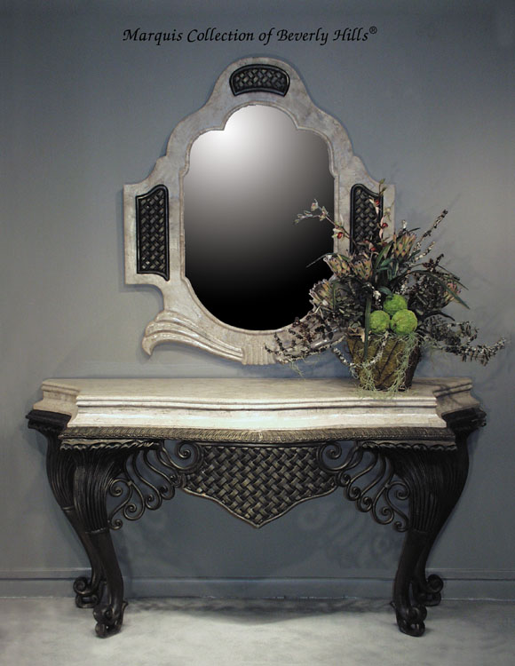 16-1784 - Erte Mirror Frame with Basket weave Design, Cantor Stone (Mirror Included)
