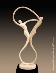 14-9565 - Swing Sculpture, Beige Fossil Stone with White Ivory Stone