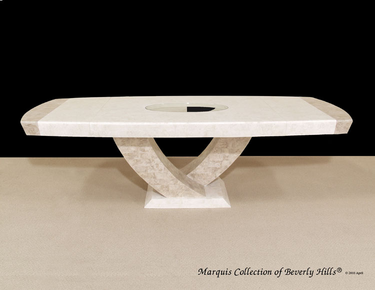 15-8400 - Italia Extendable Dining Table, White Ivory Stone with Beige Fossil Stone