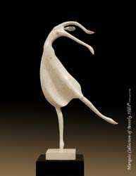 151-9568 - Modern Ballerina Sculpture, White Ivory Stone/Beige Fossil Stone /Stainless Finish