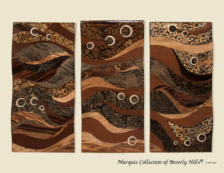 423-3468 - 'Oceans Insight' 3-Panel Wall Art, Natural Finishes