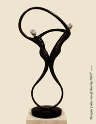 572-9565 - Swing Sculpture, Black Stone with Stainless Finish
