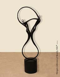 572-9566 - Swing Sculpture, Floor Model, Black Stone with Stainless Finish