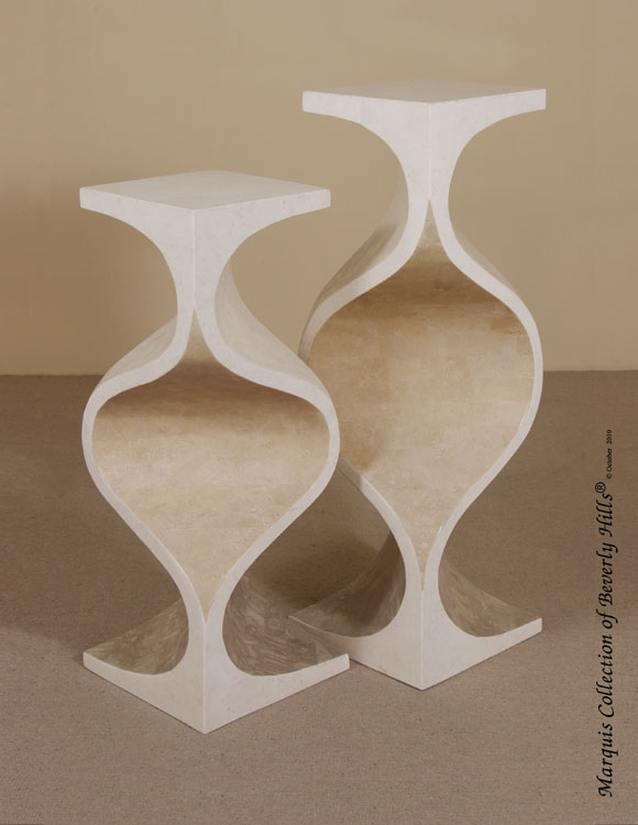 7-28-4-65-42 - 42 In. High 'Milan' Pedestal, White Agate Stone/White Ivory Stone/Beige Fossil Stone/Cantor Stone