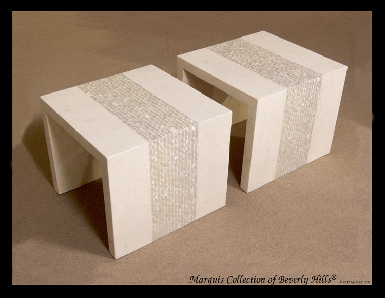 711-5260A - Reflection' Twin Cocktail Tables, White Ivory Stone with Trocca Shell - Sold in Set of 2