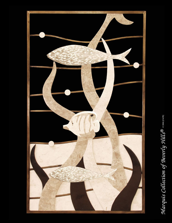 765-8422 - Sea Life Wall Art, White Ivory  Stone/Cantor Stone/Black Stone/Stainless Steel