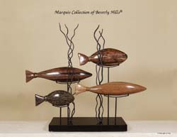 900-9542 - 'Aquamarine' 4-Fishes Sculpture, Natural Materials in Black Stone and Iron Stand