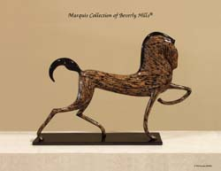 933-9534 - Dynasty Stallion Sculpture, Cotton Husk with Black Stone Finish