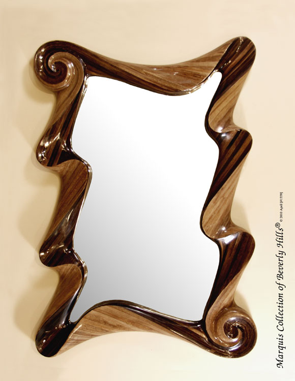 961-5601 - Wave Rectangular Mirror Frame, Dark Banana Bark/Honeycomb Cane Leaf